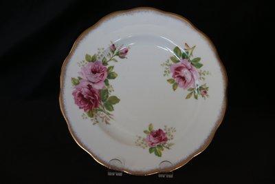 ❃A&EJ Studio❃英國製骨瓷皇家亞伯特Royal Albert 22K鑲金玫瑰花盤20公分【一級品】