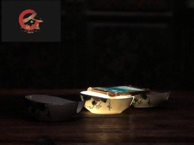 """㊣姥姥的寶藏㊣ 七八十年代出口外國訂單尾貨 客家龍窯""""手繪釉下彩""""分茶器"""