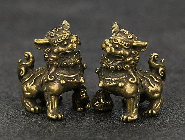 [開運風水小銅件] 銅獅子一對 /桌面擺件 開運吉祥物 鎮宅銅獅 居家擺件 小銅獅子