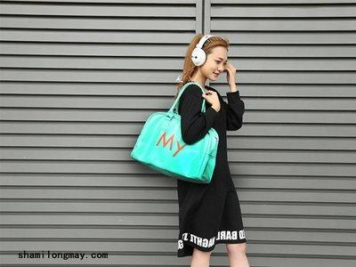 HAPPY+【V5309】新品包包 糖果色字母手拎旅行包 PU皮革運動包 單肩包 無印良品