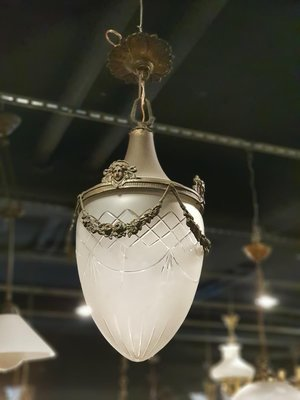 【卡卡頌 歐洲跳蚤市場/歐洲古董】法國老件_手工玻璃 深雕刻 人像花卉雕刻吊燈 歐洲老燈 玄關燈 l0183✬