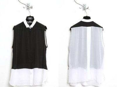 [SALE]倫敦 設計師 品牌 UNCONDITIONAL 雪紡上衣 黑白/藍黑 拼色