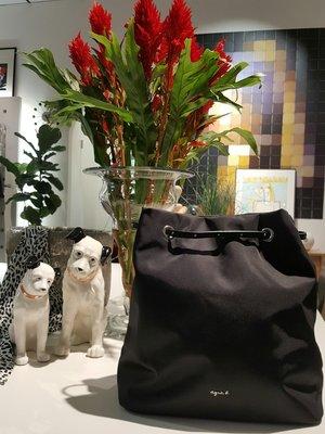 [ RainDaniel ] Agnes b. 法國時裝品牌 黑色帆布 手提/肩背 兩用包