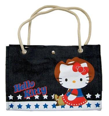 【卡漫迷】 Hello Kitty 牛仔 手提袋 剩2 ㊣版 肩背包 補習袋 購物袋 手提 電腦袋 ~7 5 0元