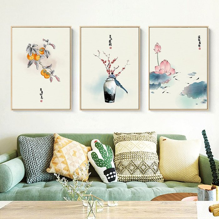 新中式禪意復古風荷花花卉裝飾畫畫芯微噴繪打印畫芯掛畫壁畫畫心(不含框)