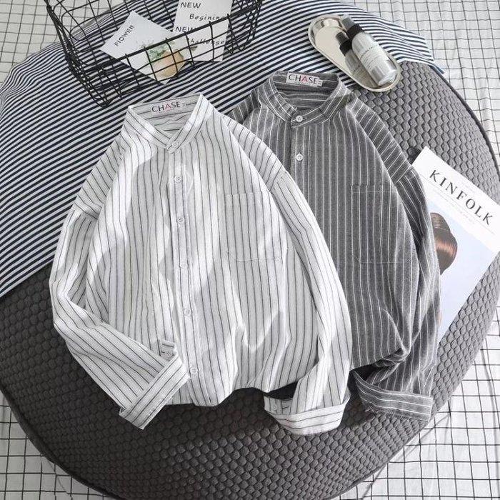 襯衫外套 條紋白襯衫男士襯衣長袖休閒寬鬆外套男寸衫正韓潮流