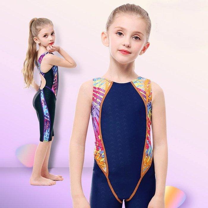 【小阿霏】兒童訓練泳衣 女童側邊彩條五分褲連身式泳裝 女孩一件式專業競速泳衣SW82