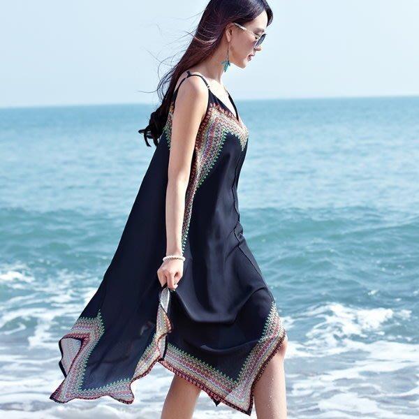 韓 實拍 ♥ E6026度假裙海灘吊帶裙 連衣裙 波西米亞長裙沙灘裙
