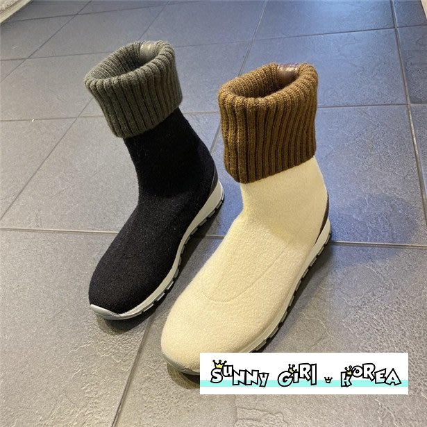 正韓襪靴*Sunny Girl*韓國代購針織彈力保暖厚底襪套短靴 2019十二月新款 - [WH1431]