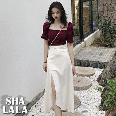 SHA LA LA 莎菈菈 韓版宮廷風方領短袖上衣+高腰側開岔半身裙套裝(S~M)2019050702預購款