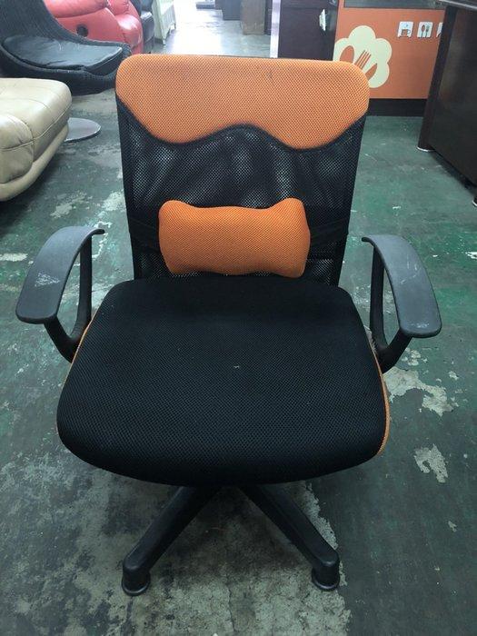 非凡二手家具 橘黑色 布面靠枕雙扶手辦公椅*電腦椅*主管椅*會計椅*升降椅*洽談椅*接待椅*秘書椅*課椅*接洽椅*活動