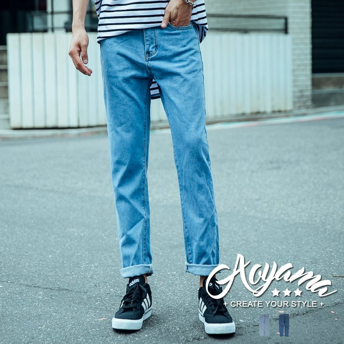 牛仔褲 日系古著9分原色單寧寬牛仔褲【T008】青山AOYAMA