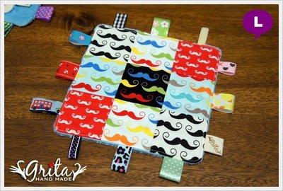 ♥grita's handmade♥嬰幼兒鍛帶/布標安撫巾 可當彌月禮、小手帕/9格小圖版-翹鬍子(現貨)