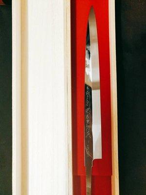 超稀有 伝統工芸士 故池田辰男 正行作 270mm 青鋼本燒 片鏡面 刀銘雕刻入