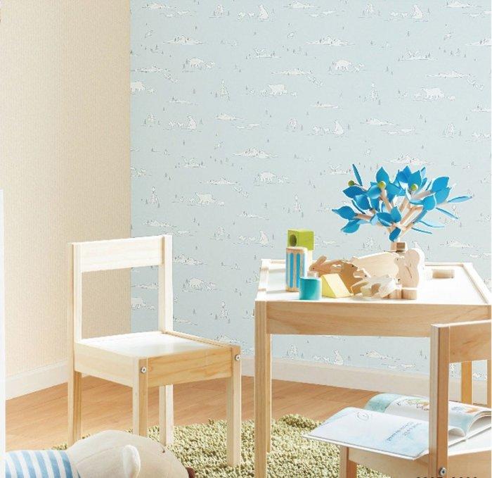 【Uluru】日本進口壁紙 北極熊 壁紙 藍色 兒童房 小孩房 北歐風格 日本製