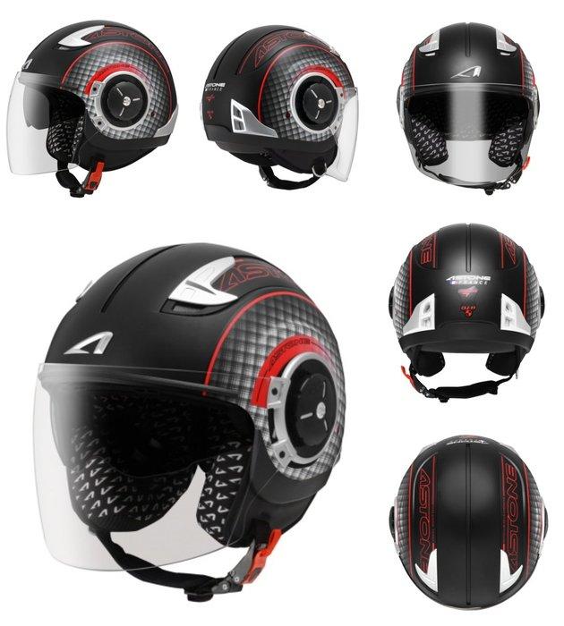 Astone DJ11(消光黑紅)彩繪 可拆洗 內建墨鏡 SS11 半罩 安全帽 通風