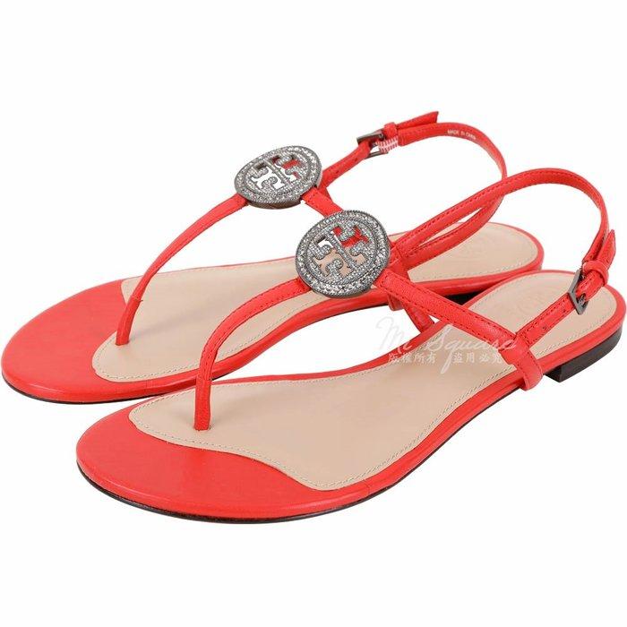 米蘭廣場 TORY BURCH Liana 鑽飾盾牌牛皮夾腳涼鞋(紅色) 1740322-54 7號