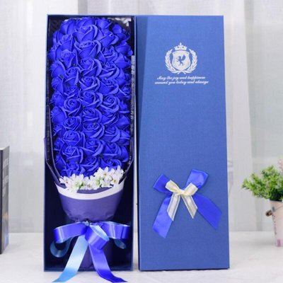 51朵香皂花束禮盒,不凋謝的玫瑰花-全藍玫瑰款