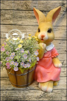 鄉村風 粉紅色波麗兔子花盆 卡通造型立...