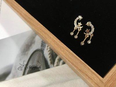 【海星 Starfish】 925銀針 星月之夜 不對稱設計耳環