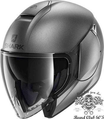 ♛大鬍子俱樂部♛ SHARK® CityCruiser Blank 法國 復古 消光 Jet 半罩 安全帽 消光 銀灰