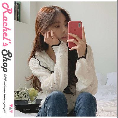 韓國空運*cherrykoko黑色滾邊波浪花邊鏤空短版針織外套[CK-CB02GECD3]Rachel's Shop