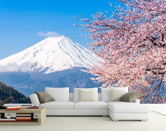 客製化壁貼 店面保障 編號F-028 富士山櫻花 壁紙 牆貼 牆紙 壁畫 星瑞 shing ruei