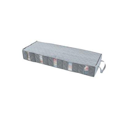 床底收納盒 床下長條盒子窄長型收納盒整理箱超扁平薄竹炭鞋盒棉被分格床底被