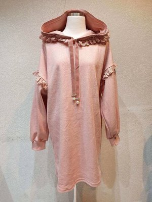 正韓 kiyumi、香草、茉莉、梨花推 超美連帽 袖拼接滾荷長版甜美運動風洋裝。原價2280,連線價$1090。