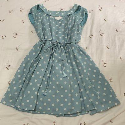 日本品牌 Honey Bunch 小包袖藍綠色美背式點點復古洋裝