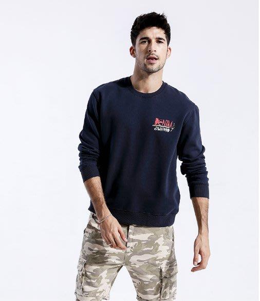 EVAN'S - 卡通字母印花長袖T恤  ( 深藍色 )