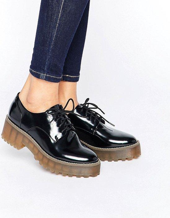 ◎美國代買◎ASOS代買厚底橡膠鞋底搭配尖頭鞋帶款英倫龐克厚底牛津鞋~歐美街風~大尺碼~