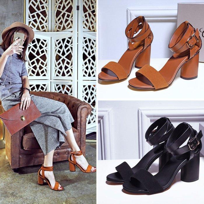 涼鞋 雜誌推薦手工皮革感粗跟涼鞋【S1588】☆雙兒網☆