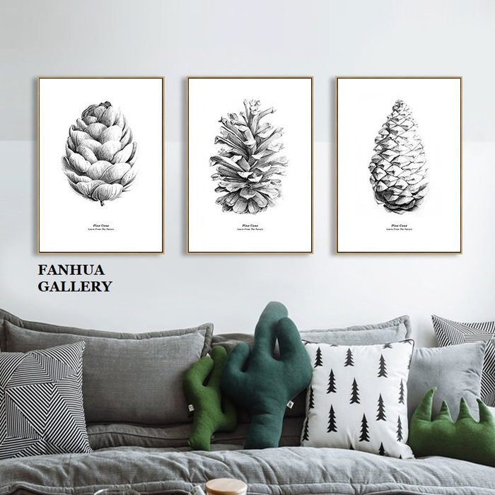 C - R - A - Z - Y - T - O - W - N 黑白松果植物花卉掛畫客廳三聯畫裝飾畫復古風臥室掛畫