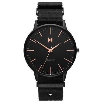 美國 MVMT 官網代購 BOULEVARD 基本款女錶黑色不鏽鋼錶框尼龍錶帶 38mm CK DW Cluse