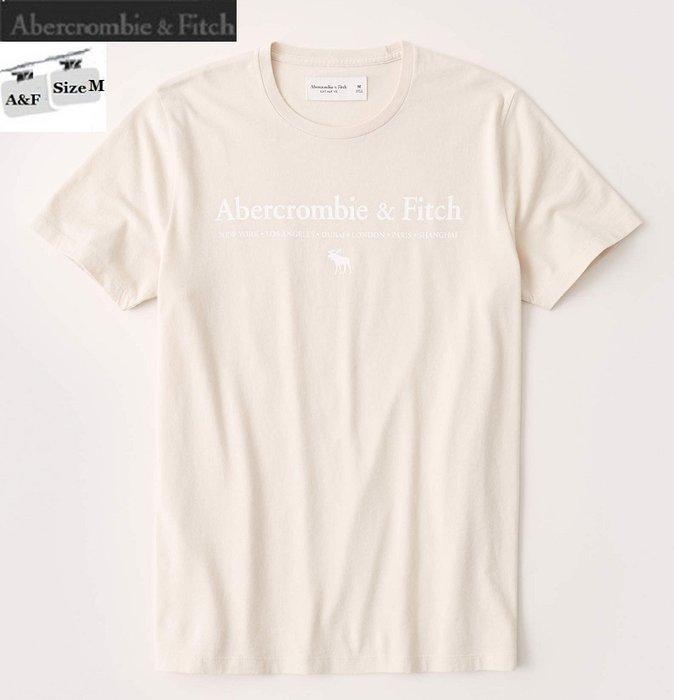 [JJ Outlet 小舖 A&F 特賣]100%真品全新Abercrombie&Fitch淺米色100%純棉T(M)