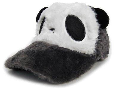 【超Q風格☆D101-2☆可愛貓熊毛毛棒球帽-灰色款】帽子專賣店