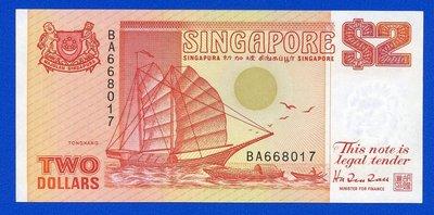 [珍藏世界]新加坡1990年2元P27全新品相