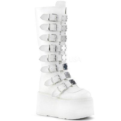 Shoes InStyle《三吋》美國品牌 DEMONIA 原廠正品龐克歌德金屬板厚底楔型及膝長馬靴 有大尺碼『白色』