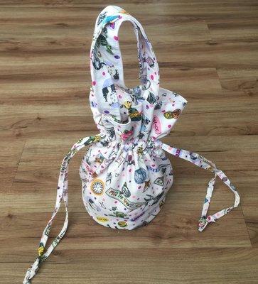 圓桶束口購物袋    尺寸:約高31*寬28*底側直徑18cm   有內裡