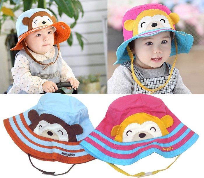 媽咪家【R019】R19猴子遮陽帽 春夏 可愛 動物 軟布 翻邊 防曬 造型 漁夫帽 寶寶帽 盆帽 適合頭圍50cm內