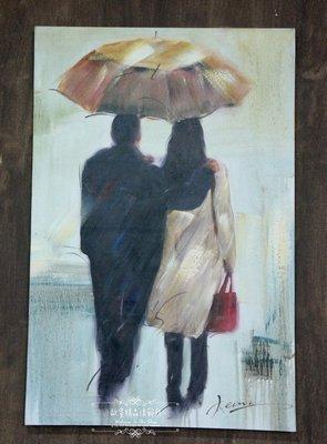 ~*~歐室精品傢飾館~*~鄉村風格 手工 繪製 工筆 油畫 情人 雨中 撐傘 無框畫 掛畫 掛圖 壁飾~新款上市~