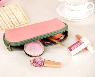 韓國可愛加州陽光化妝包 大容量收納包 多功能PU皮手拿包【庫奇小舖】【Q44】