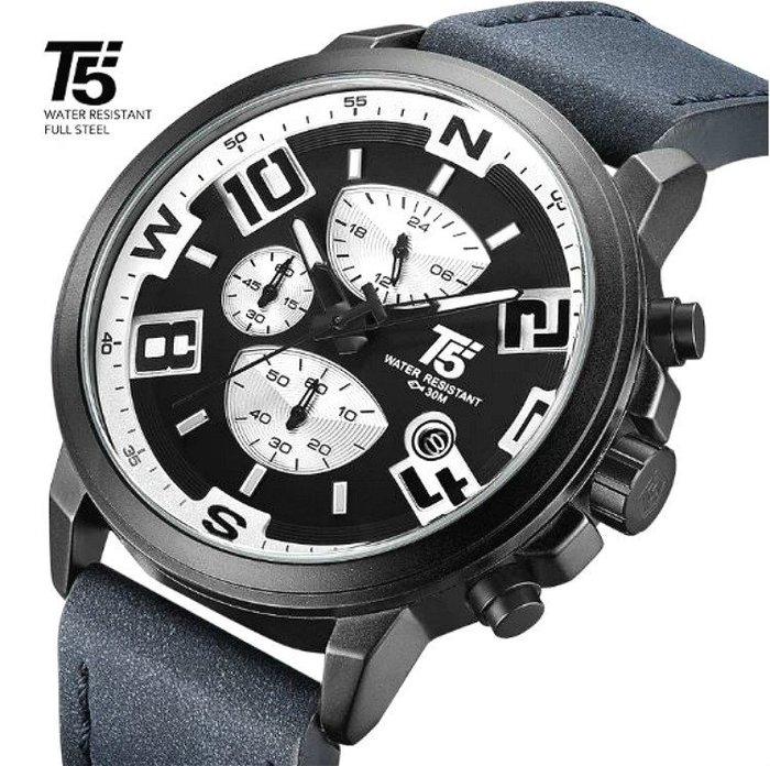 新款T5美國潮牌 視覺拼色概念設計大錶盤 真三眼六針跑秒 個性帥氣百搭型男皮帶石英錶 生日送禮首選【S & C】