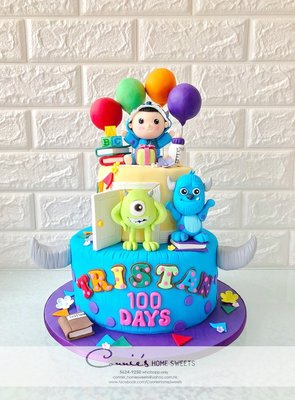 【Connie's Home Sweets】Baby cosplay 毛毛 單眼仔 Monster University 100 Days cake 百日宴蛋糕