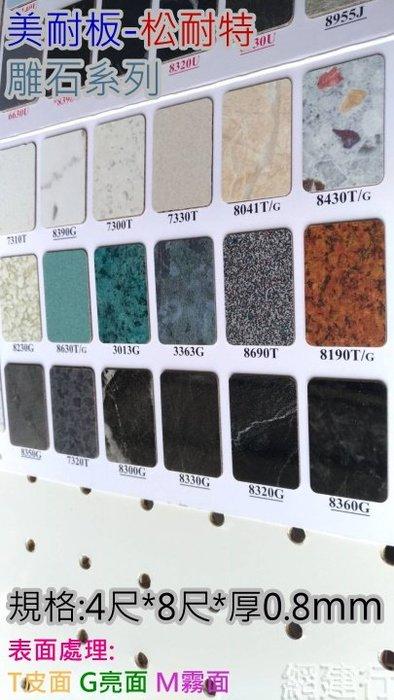 網建行 ®【松耐特美耐板 雕石系列-亮面G /霧面M】4x8尺 厚度0.8mm 傢俱 櫥櫃 洞洞板 裝潢 耐火板 易清潔