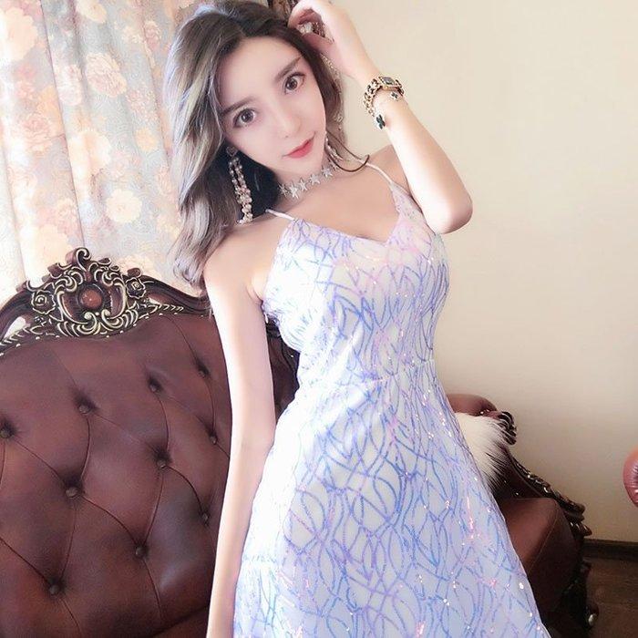 吊帶裙 新品低胸深V領吊帶性感大露背修身顯瘦亮片連衣裙夜店閃閃裙潮