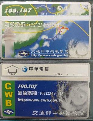 光學訂製電話卡交通部中央氣象局2張N8064及N8141