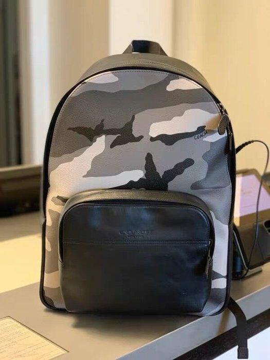 小皮美國正品代購 COACH 75878 新款男士雙肩包 時尚迷彩圖案休閒後背包 大容量 潮流 附購證