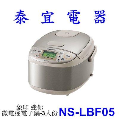 【泰宜電器】象印 NS-LBF05 迷你微電腦電子鍋-3人份【另有NP-GBF05】